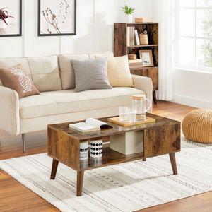 VASAGLE Couchtisch mit großer Ablage Holzoptik 100 x 50 x 45 cm | Sofatisch im Retro-Stil | einfacher Aufbau| Kaffeetisch Wohnzimmertisch Vintage LCT09BX