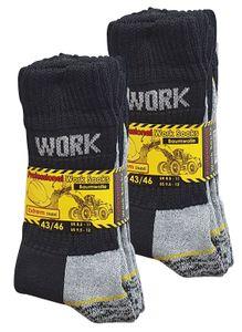 """Baumwolle Prime® Arbeitssocken """"WORK"""" 6 Paar Schwarz/Grau 43-46"""