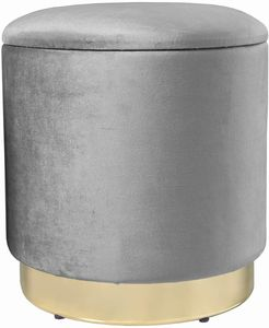 Theo&Cleo Eleganter runder Sitzpuff aus Samt,Mit Stauraum,Aus Samt und Metall,37x37x41.5cm (Grau)