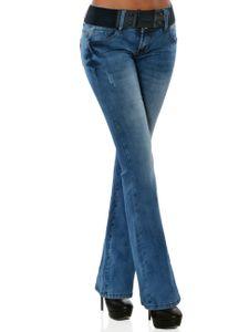 Damen Boot-Cut Jeans Hose mit Gürtel DA 16040 Farbe Blau Größe S / 36