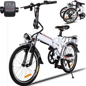 Klapprad 20 Zoll e bike E-Trekkingrad Elektrofahrrad E-bike Faltbares Mountainbike mit LED Fahrradlicht, E-MTB Elektrisches Fahrrad mit 36V 8AH Lithium Akku 250W und Shimano 7-Gang Getriebe 50 Meilen,für Damen, Herren, Unisex,Weiß