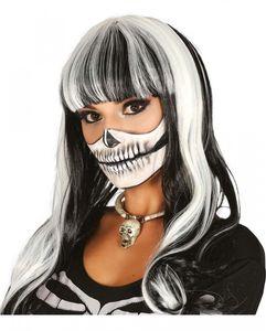 Schwarz-Weiße Langhaarperücke für Halloween & Fasching