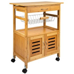 ONVAYA® Küchenrollwagen Tokio | Nischenwagen Holz Bambus | Beistellwagen mit 4 Rollen und Schublade | Maße ca. 84,5 x 58,5 x 37 cm | Küchenwagen im Vintage Landhaus Stil
