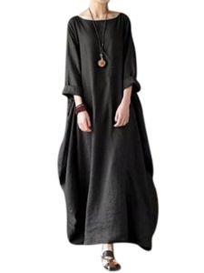 Damenkleid aus Baumwolle und Leinen mit über dem Knie langem Rock,Farbe: Schwarz,Größe:4XL