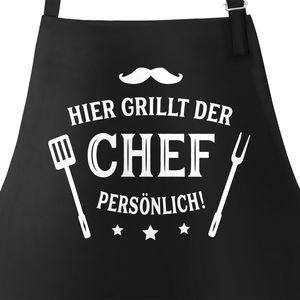 Grill-Schürze für Männer mit Spruch Hier grillt der Chef persönlich Moonworks®  schwarz unisize
