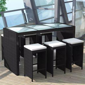 Hochwertiger - 7-tlg. Garten-Bar-Set Bartisch Set 7-teilig | Bistrotisch mit 6 Stühlen | Sitzgruppe Küchentisch mit Auflagen Poly Rattan Schwarz #DE66502
