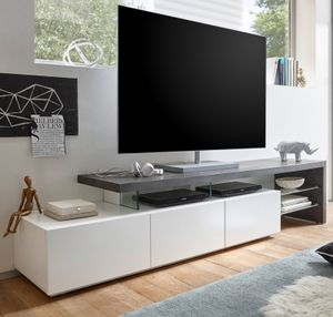 TV-Lowboard Alimos in weiß und Beton Design grau Unterschrank 204 x 44 cm