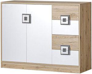 Kommode 120 NICO 08 Mehrzweckschrank mit 4 Schubladen und 2 Türen, Kinderzimmer