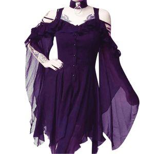 Damen Plus Size Fashion Gothic Rüschen Sling Kleid Unregelmäßiges Kleid Größe:XXXXL,Farbe:Lila