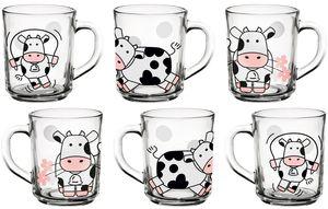 Kindergläser mit Griff Set 6 Teilig Trinkgläser Kuh Motiv 220ml Milchgläser Saftglas aus Glas Kindertassen