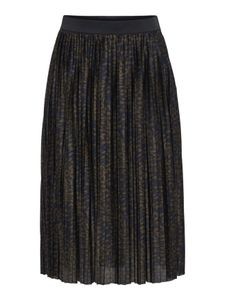 Damen Jacqueline de Yong Rock Jersey Plissee Skirt Knie Lang Elegant Leo Muster Stretch Bund JDYBOA, Farben:Dunkelblau, Größe:M