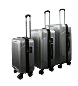 Reisekoffer Set Hartschale Reise Koffer  Handgepäck Trolley silber Set 4 Doppelrollen TSA-Schloss (SET (M+L+XL))