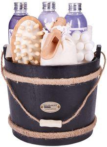 BRUBAKER Cosmetics Wellness Badeset - Lavendel - 9-teiliges Geschenkset mit Pflege- und Massage Accessoires im dekorativen Badefass