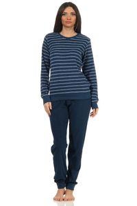 Damen Frottee Pyjama langarm Schlafanzug mit Bündchen - 212 201 90 801, Farbe:marine, Größe:44-46