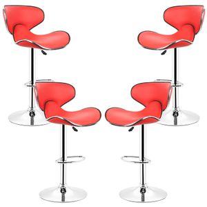 4er-Set Barhocker höhenverstellbar Tresenhocker mit Rückenlehne Rot
