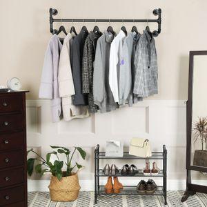 SONGMICS Garderobenständer 110 x 30 x 29,3 cm Wandmontage platzsparend bis 60 kg belastbar einfache Montage schwarz HSR64BK