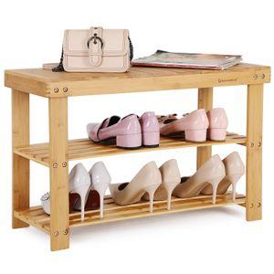 SONGMICS Schuhregal 70 x 28 x 45 cm mit Sitzbank Bambus Schuhschrank Schuhbank mit 3 Ablagen LBS04N