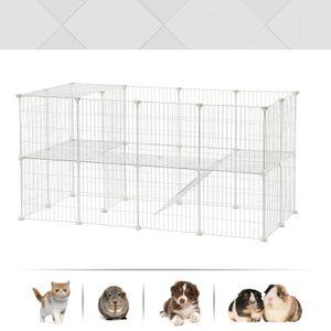SONGMICS Kleintierkäfig 2 stöckig Metallgitter 143 x 73 x 71cm Haustierkäfig DIY Kleintiergehege für den Innenbereich weiß LPI02W