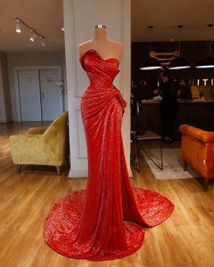 Glitter Pailletten Abendkleid Sexy High Split Meerjungfrau Kleid