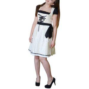 Midi Dirndl Trachtenkleid Tracht Kleid Oktoberfest Baumwolle Bluse Schürze , Modell:ML004, Größe:46