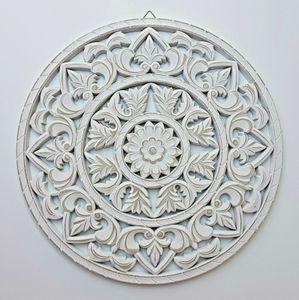 Wandornament weiß shabby Ornament Wanddeko Holzbild Holzornament Ø  45 cm