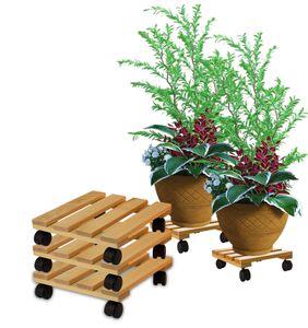 3x Pflanzenroller eckig Buchenholz massives Holz 30 x 30 cm bis 120 Kg Rolluntersetzer
