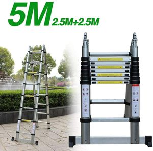 Teleskopleiter 5M Alu Klappleiter Multifunktionsleiter aus hochwertiges Aluminium ausziehbare Leiter Teleskop-Design 150kg