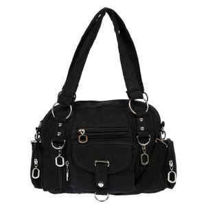 Damenhandtasche Schultertasche Tasche Umhängetasche Canvas Shopper Crossover Bag Schwarz