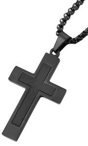 Herrenkette Akzent Halskette Kreuz schwarz 61 cm lang