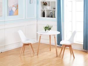 HJ WeDoo Esstisch mit 2 Stühlen Weiß+Esstisch 80x80x70cm,für 2 4 Personen