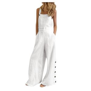 Damen ärmellose Overalls Jumpsuit Casual Solid Summer Wide Leg Latzhose Größe:M,Farbe:Weiß