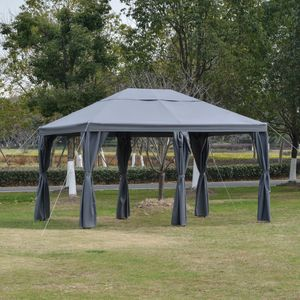 Outsunny Gartenpavillon Pavillon Gartenzelt Festzelt Partyzelt mit 6 x Seitenwand Metall + Polyester Grau 4 x 3 x 2,6 m
