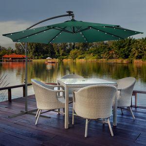 Sonnenschirm Luxus mit LED Beleuchtung Ampelschirm Ø3m Farbe Grün - direkt vom Hersteller