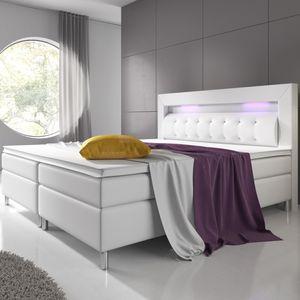 Juskys Boxspringbett Montana 180 x 200 cm weiß – Komplett Set mit Matratze und Topper – LED-Licht im Kopfteil – Bett aus Kunstleder und Holz – modern