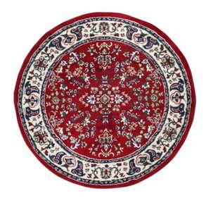 Orientteppich rund 120 cm Läufer Designteppich Vintage Webteppich Rot orientalisch