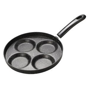 4-Tassen-Eierpfanne Antihaft-Eierkochpfanne 4-Tassen-Omelettpfanne Runde Burger-Pfannkuchenpfanne Eierpfanne aus Aluminiumlegierung Kochgeschirr fuer Gasherd