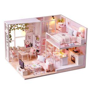 DIY Miniatur Loft Dollhouse Kit Realistische Mini 3D Rosa Holzhaus Zimmer Spielzeug mit Moebel LED-Leuchten Weihnachten Kindertag Geburtstagsgeschenk