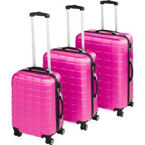 tectake Trolley Set 3-tlg. aus Hartschale - pink
