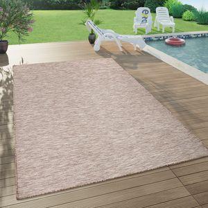 In- & Outdoor-Teppich Für Wohnzimmer, Balkon, Terrasse, Flachgewebe In Beige, Grösse:140x200 cm