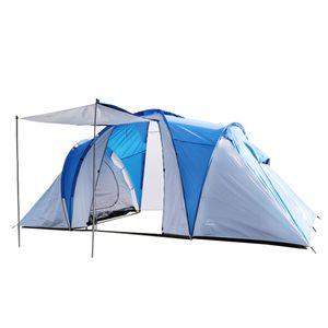 Kuppelzelt für 4 Personen, Campingzelt, leichtes Trekkingzelt mit Vorzelt, Blau