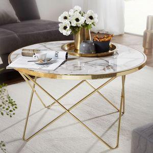 WOHNLING Design Couchtisch Marmor Optik Weiß Rund Ø 85 cm Gold Metall-Gestell | Großer Wohnzimmertisch | Beistelltisch