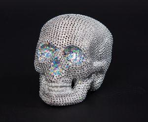 Halloween Deko Totenkopf mit Glitzersteinen silber 20x15cm