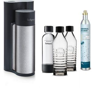 SODAPOP Wassersprudler Harold, silber/schwarz, 2x Glaskaraffen, 1x PET Flasche, CO2 Zylinder