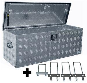 Truckbox D160 + inkl. Montagesatz MON4004 Deichselbox, Werkzeugbox, Alu Riffelblech, Transportbox, Alu Transportkiste, Anhängerkiste ca. 160 Liter