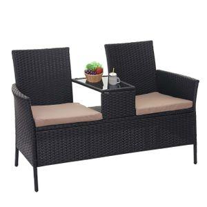 Poly-Rattan Sitzbank mit Tisch HWC-E24, Gartenbank Sitzgruppe Gartensofa, 132cm  schwarz, Kissen creme