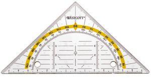 WESTCOTT Geodreieck zum Abheften Hypotenuse: 140 mm