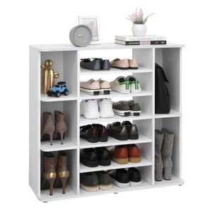 VASAGLE Schuhschrank mit verstellbaren Ebenen   für 18-20 paar Schuhe 92 x 30 x 88,5 cm Schuh-Organizer Schuhregal weiß LBC05WT