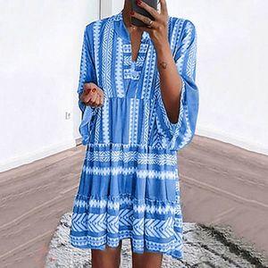 Frauen Langarm Boho Retro Grafik Printed Loose Dress V-Ausschnitt Minikleid Größe:XXXL,Farbe:Blau