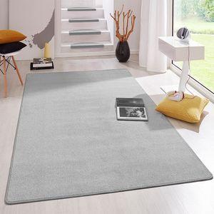 Kurzflor Uni Teppich Fancy einfarbig, Farbe:Grau, Größe:100x150 cm