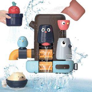 NightyNine Baby Badespielzeug Set, Kinder Multifunktionales Badewannen Spielzeug mit Kleines Vogelbaumhaus, Bär und Rettich, Wasserspielzeug Geschenke für Jungen und Mädchen ab 6 Monate+